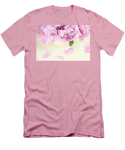 Pastel Pink Peonies  Men's T-Shirt (Slim Fit) by Stephanie Frey