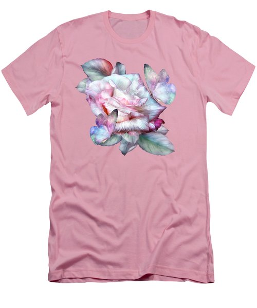 Men's T-Shirt (Slim Fit) featuring the mixed media Pastel Rose And Butterflies by Carol Cavalaris