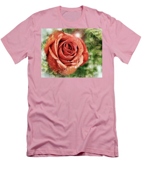 Peach Rose Men's T-Shirt (Slim Fit) by Sennie Pierson