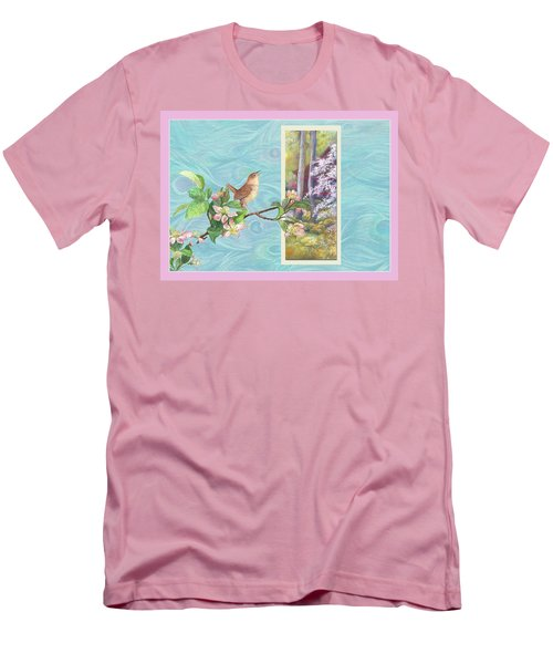 Peacock And Cherry Blossom With Wren Men's T-Shirt (Slim Fit) by Judith Cheng