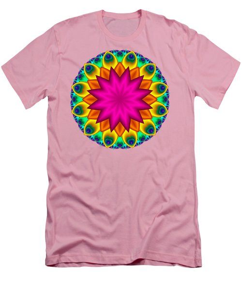 Peacock Fractal Flower I Men's T-Shirt (Athletic Fit)