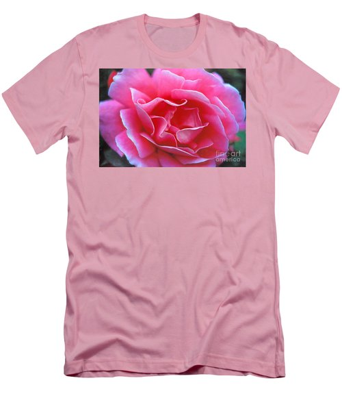 Men's T-Shirt (Slim Fit) featuring the photograph Peggy Lee Rose Bridal Pink by David Zanzinger