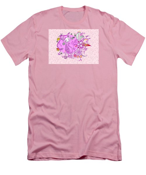Pen And Ink Colorful Cat Drawing Men's T-Shirt (Slim Fit) by Saribelle Rodriguez