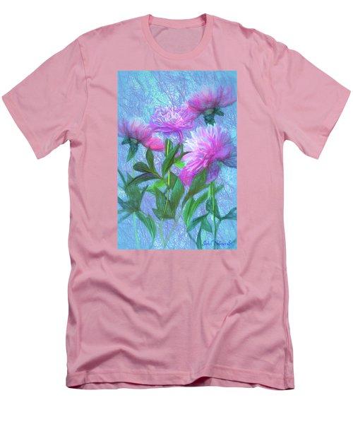 Men's T-Shirt (Slim Fit) featuring the digital art Peonies #3 by John Selmer Sr