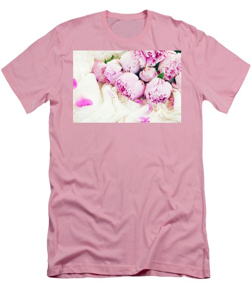Peonies And Wedding Dress Men's T-Shirt (Athletic Fit)