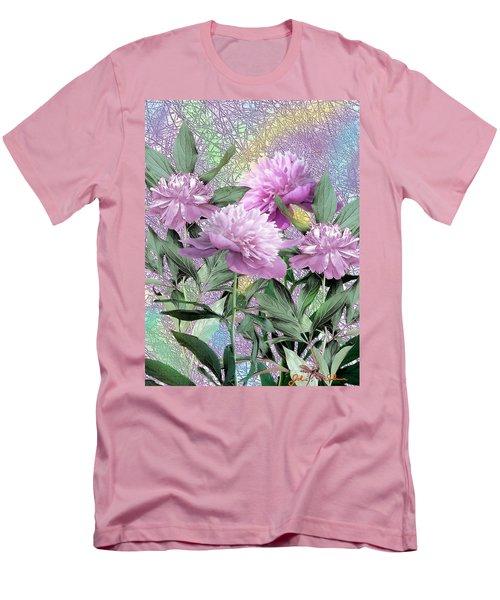 Men's T-Shirt (Slim Fit) featuring the digital art Peonies by John Selmer Sr
