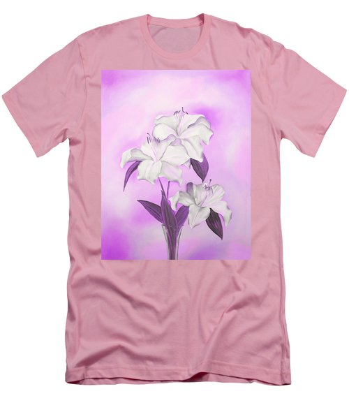 Men's T-Shirt (Athletic Fit) featuring the mixed media Pink And White by Elizabeth Lock