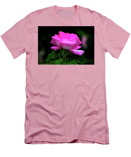 Men's T-Shirt (Slim Fit) featuring the photograph Pink And White Rose 005 by George Bostian