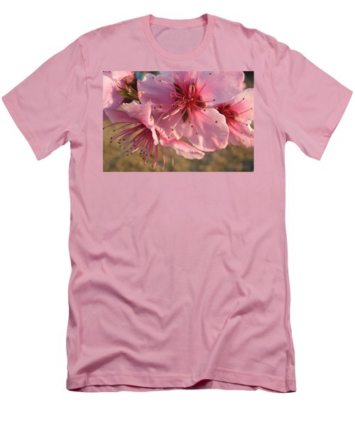 Pink Blossoms Men's T-Shirt (Slim Fit) by Barbara Yearty