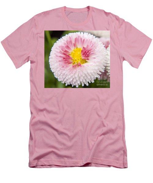 Pink Button Flower Men's T-Shirt (Athletic Fit)