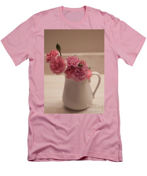 Pink Carnations Men's T-Shirt (Slim Fit) by Sherry Hallemeier