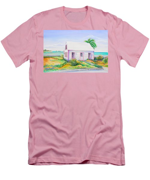 Men's T-Shirt (Slim Fit) featuring the painting Pink Cottage by Patricia Piffath