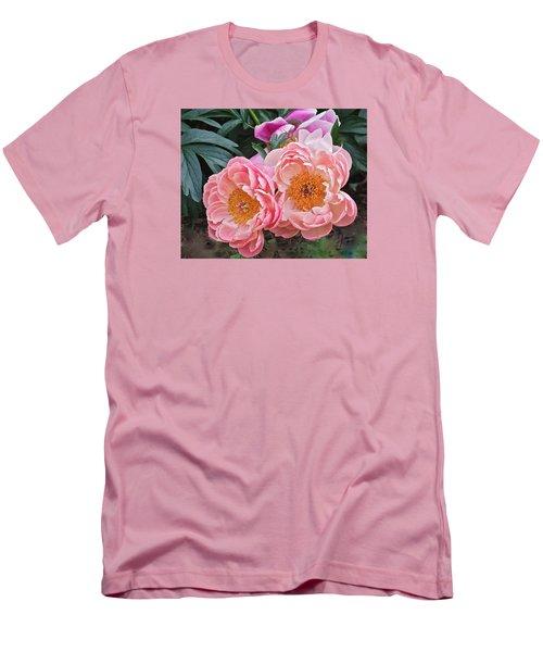 Pink Duo Peony Men's T-Shirt (Slim Fit) by Janis Nussbaum Senungetuk