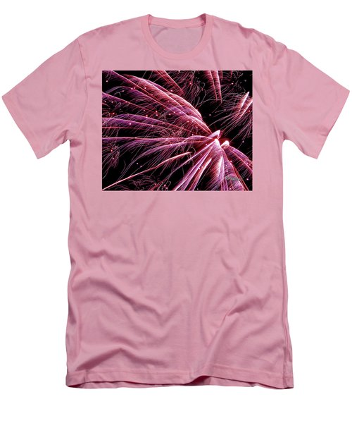 Men's T-Shirt (Athletic Fit) featuring the photograph Pink Flamingo Fireworks #0710 by Barbara Tristan