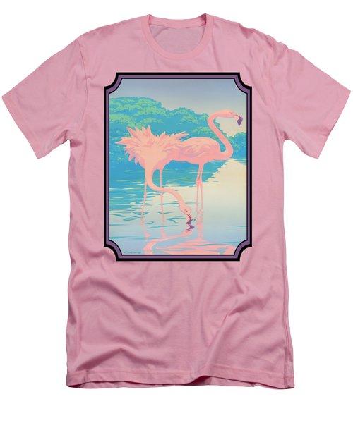 Pink Flamingos Abstract Retro Pop Art Nouveau Tropical Bird Art 80s 1980s Florida Decor Men's T-Shirt (Slim Fit) by Walt Curlee