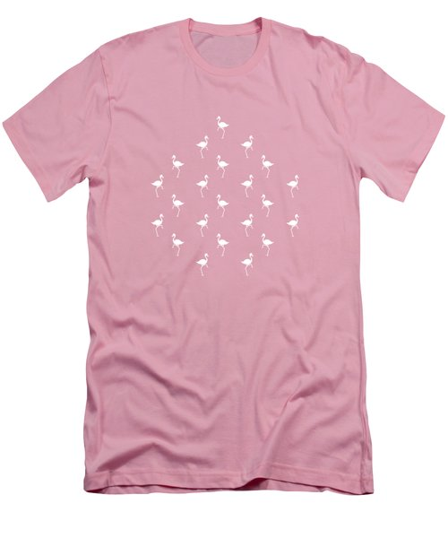 Pink Flamingos Pattern Men's T-Shirt (Slim Fit) by Christina Rollo