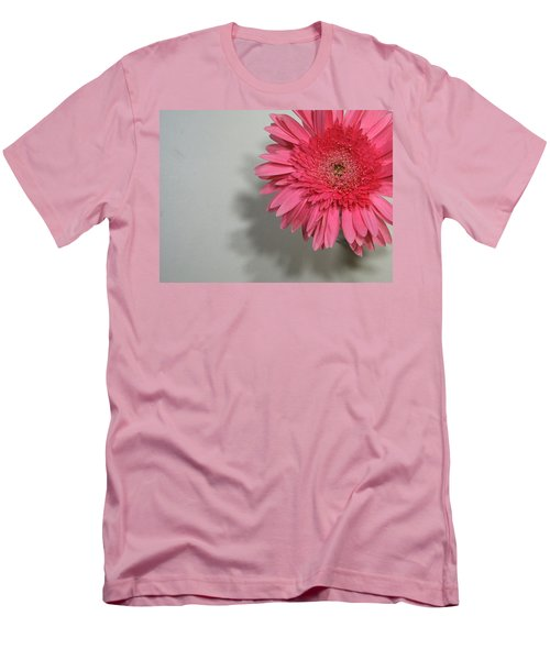 Men's T-Shirt (Slim Fit) featuring the painting Pink Gerbera by Marna Edwards Flavell