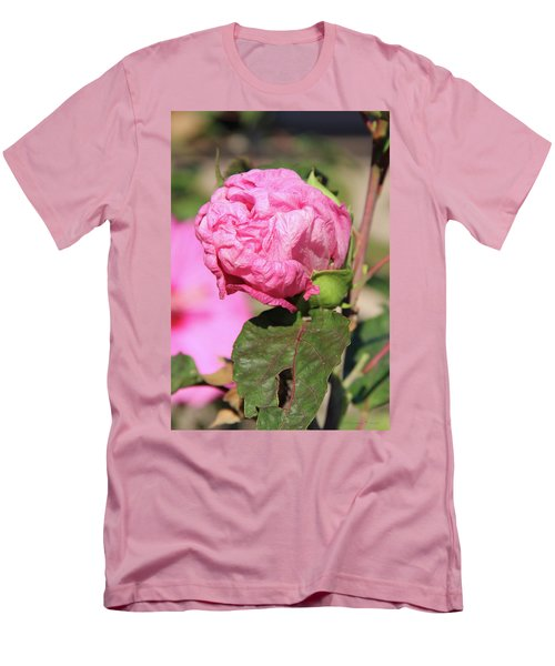 Pink Hibiscus Bud Men's T-Shirt (Slim Fit) by Inspirational Photo Creations Audrey Woods