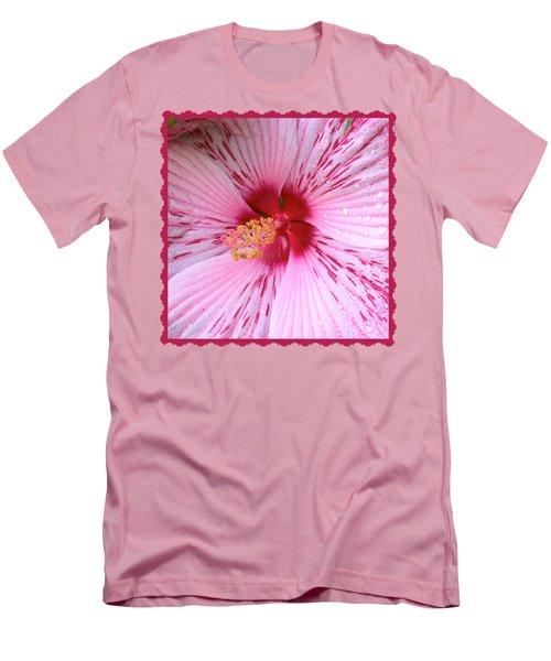 Pink Hibiscus Macro Men's T-Shirt (Slim Fit)