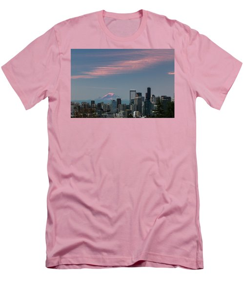 Men's T-Shirt (Slim Fit) featuring the photograph Pink Highlights Over Seattle-mt. Rainier by E Faithe Lester