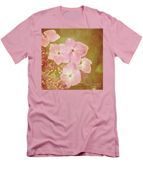 Men's T-Shirt (Slim Fit) featuring the photograph Pink Hydrangeas by Lyn Randle