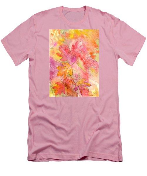 Pink Leaves Men's T-Shirt (Slim Fit) by Nancy Cupp
