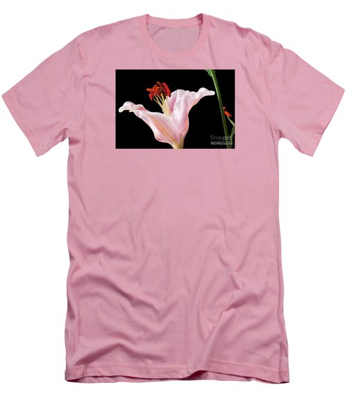 Men's T-Shirt (Athletic Fit) featuring the photograph Pink Oriental Lily With Bright Red Pollen by David Perry Lawrence