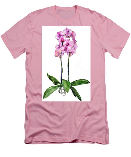 Pink Orchids Men's T-Shirt (Slim Fit) by Heidi Kriel