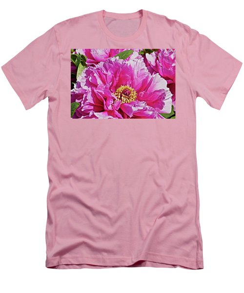 Pink Peony Men's T-Shirt (Slim Fit) by Joan Reese