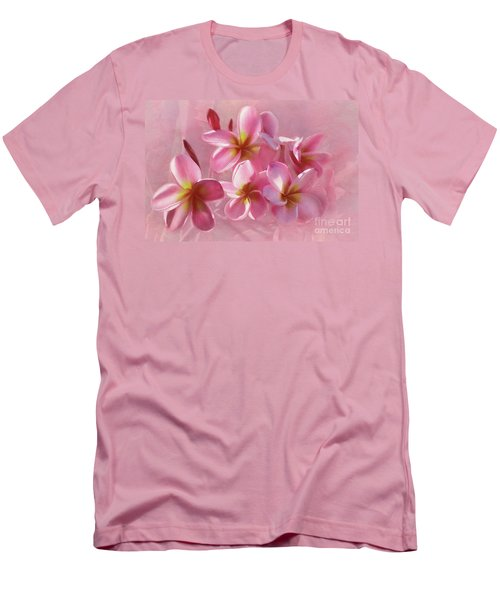 Men's T-Shirt (Athletic Fit) featuring the photograph Pink Plumeria Pastel By Kaye Menner by Kaye Menner