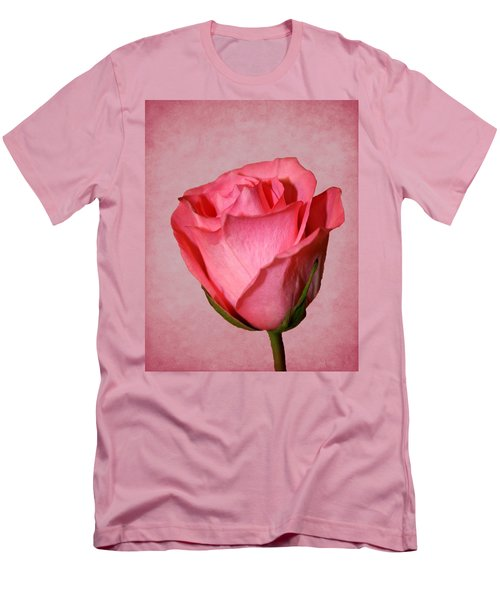 Men's T-Shirt (Slim Fit) featuring the photograph Pink Rose by Judy Vincent