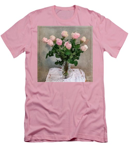 Men's T-Shirt (Slim Fit) featuring the digital art Pink Roses by Alexis Rotella