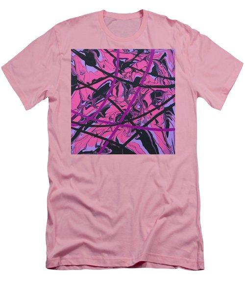 Pink Swirl Men's T-Shirt (Slim Fit) by Teresa Wing
