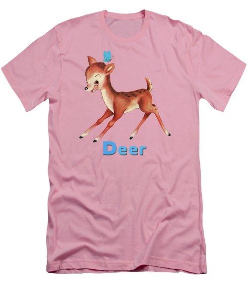 Playful Baby Deer Pattern Men's T-Shirt (Athletic Fit)