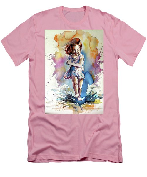 Men's T-Shirt (Slim Fit) featuring the painting Playing Girl by Kovacs Anna Brigitta