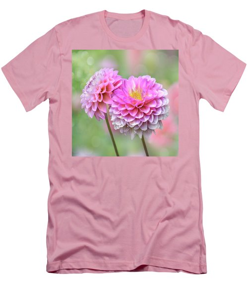 Men's T-Shirt (Athletic Fit) featuring the photograph Pompon Dahlias by John Poon
