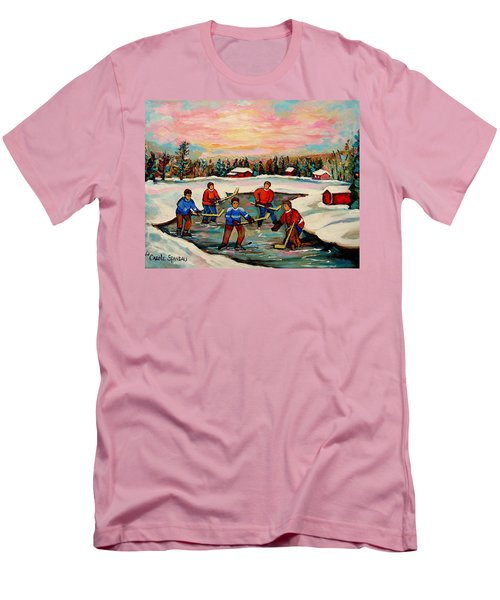 Pond Hockey Countryscene Men's T-Shirt (Slim Fit) by Carole Spandau