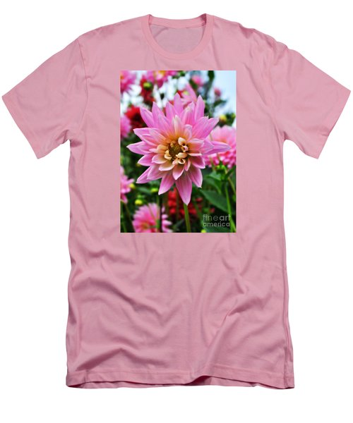 Men's T-Shirt (Slim Fit) featuring the photograph Pretty Pink Dahlia  by Mindy Bench