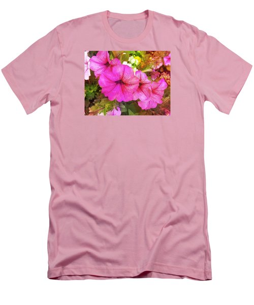 Pretty Pink Petunias Men's T-Shirt (Athletic Fit)