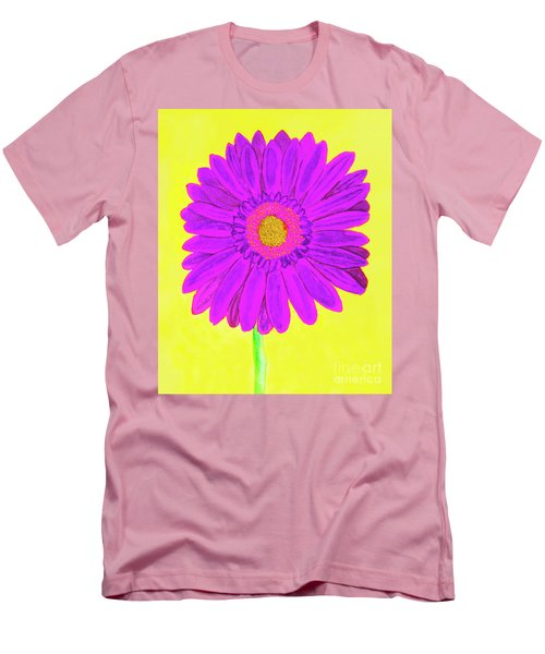 Purple  Gerbera On Yellow, Watercolor Men's T-Shirt (Slim Fit) by Irina Afonskaya