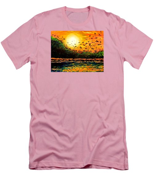Men's T-Shirt (Slim Fit) featuring the painting Purple Martin Migration by Patricia L Davidson