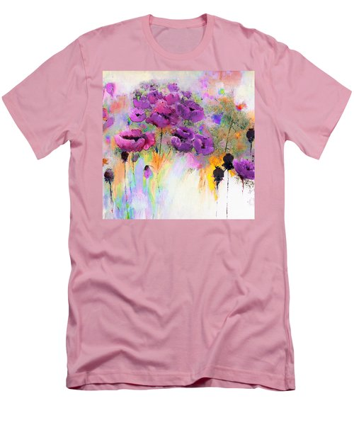 Purple Poppy Passion Painting Men's T-Shirt (Slim Fit) by Lisa Kaiser