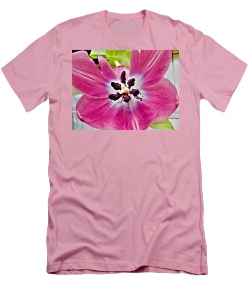 Men's T-Shirt (Slim Fit) featuring the photograph Purple Tulip by Nina Ficur Feenan