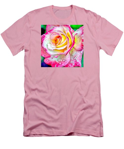 Men's T-Shirt (Slim Fit) featuring the digital art Radiant Rose Of Peace by Charmaine Zoe
