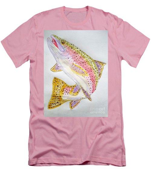 Rainbow Trout Presented In Colored Pencil Men's T-Shirt (Slim Fit) by Scott D Van Osdol