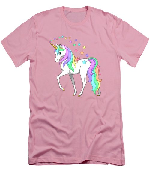 Rainbow Unicorn Clouds And Stars Men's T-Shirt (Slim Fit) by Crista Forest