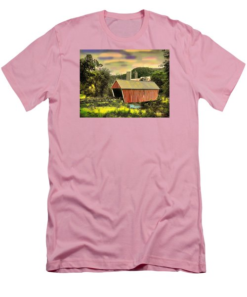 Men's T-Shirt (Slim Fit) featuring the digital art Randolf Covered Bridge by John Selmer Sr