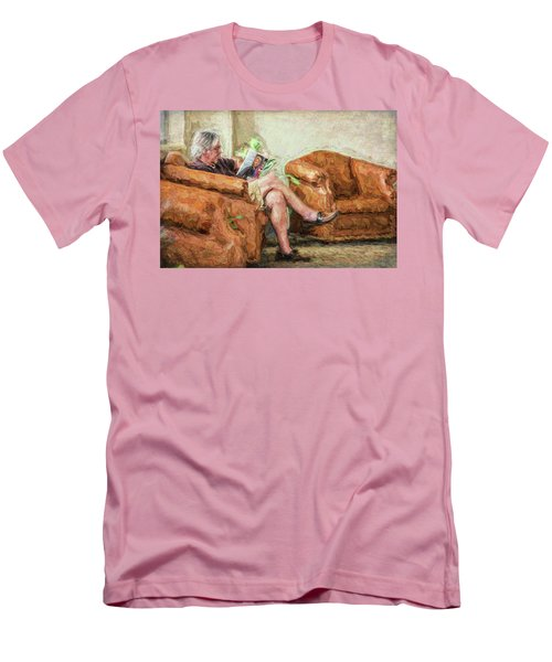 Men's T-Shirt (Athletic Fit) featuring the photograph Reading At The Library by Lewis Mann