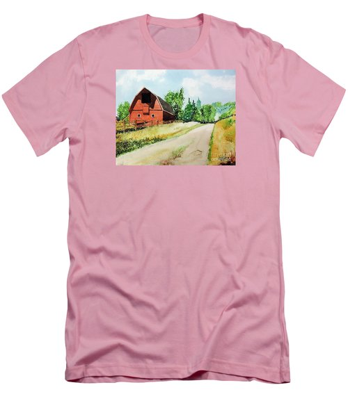 Men's T-Shirt (Slim Fit) featuring the painting Red Barn Near Steamboat Springs by Tom Riggs