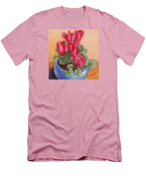 Red Cyclamen Blue Pot Men's T-Shirt (Athletic Fit)